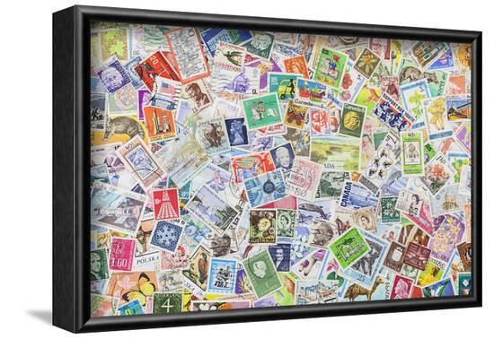 International Vintage Stamps--Framed Art Print