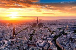 Aerial View of Paris at Sunset by INTERPIXELS