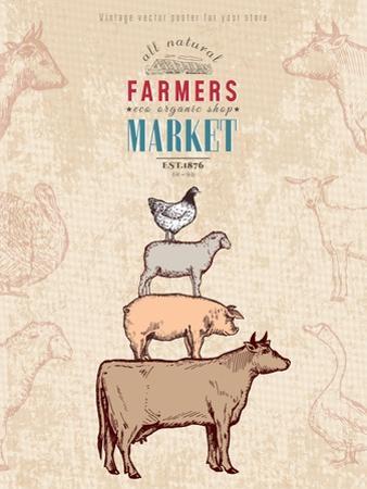 Farm Shop Vintage Poster Retro Butcher Shop Farm Animals Livestock Farming Poster Hand Drawn Ink Ve by intueri