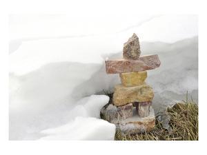 Inukshuk in Cold Winter Scene