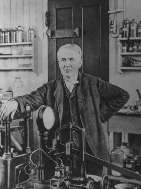 Inventor Thomas Edison in His Laboratory