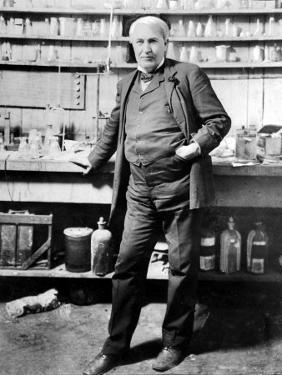 Inventor Thomas Edison Posing in His Laboratory