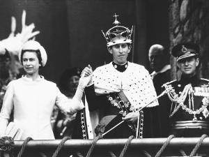 Investiture of Prince Charles at Caernarvon Castle with Queen Elizabeth and Prince Philip, 1969