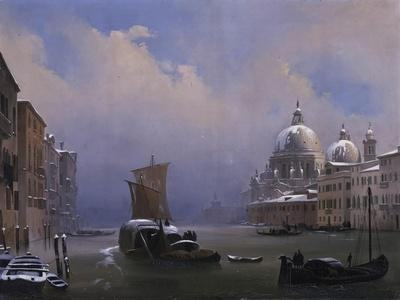 Snow and Fog in Venice (Grand Canal and Church of the Salute)