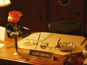 A View of Eleanor Roosevelts Desk, with a Misspelled Name Plate Given to Her by a Student by Ira Block