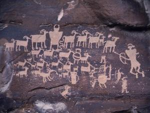 Ancient Pueblo-Anasazi Rock Art Showing a Hunt Scene by Ira Block