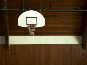 Basketball Hoop in an Old Gym in Botson by Ira Block