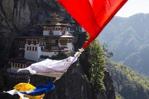 Prayer Flags Sway in the Wind Near Taktsang Monastery by Ira Block