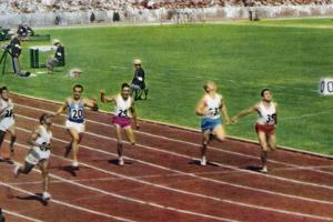 Ira Murchison Winning the 1st Heat for the 100 Metres Race in the 1956 Melbourne Olympics