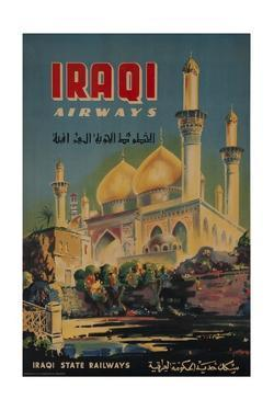 Iraqi Airways Travel Poster, Middle Eastern Mosque