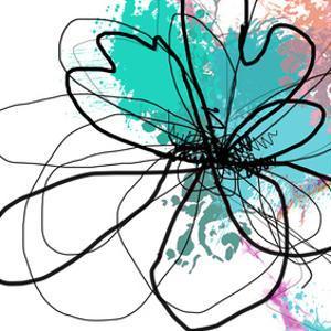Blue Abstract Brush Splash Flower by Irena Orlov