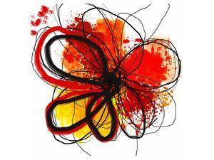 Red Abstract Brush Splash Flower I by Irena Orlov