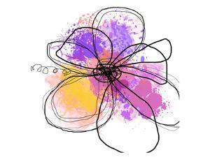Rose Yellow Abstract Brush Splash Flower I by Irena Orlov