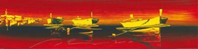 Dinghies in Red Waters II by Irene Celic