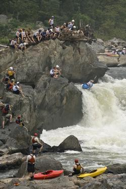A Kayaker at the Potomac Whitewater Festival, Running Grace under Pressure Rapids by Irene Owsley