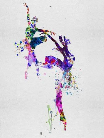 Two Ballerinas Dance Watercolor by Irina March