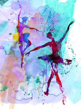 Two Dancing Ballerinas Watercolor 2 by Irina March