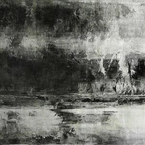 Art Abstract Acrylic Background in Black, Grey and White Colors by Irina QQQ