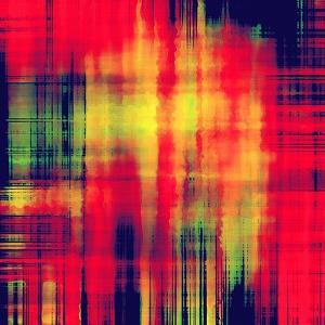 Art Abstract Geometric Pattern, Background In Bright Red , Gold And Green Colors by Irina QQQ