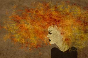Art Colorful Painting Beautiful Girl Face With Red Curly Hair On Brown Background by Irina QQQ