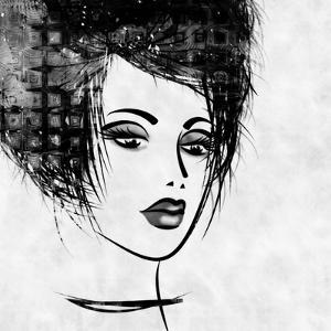 Art Colorful Sketched Beautiful Girl Face In Profile With Black Hair On White Background by Irina QQQ