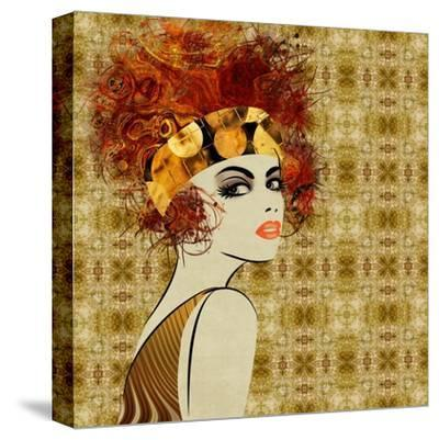 Art Colorful Sketching Beautiful Girl Face On Sepia Ornamental Background, In Art Deco Style by Irina QQQ