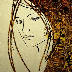 Art Colorful Sketching Beautiful Girl Face With Golden Hair On White Background by Irina QQQ