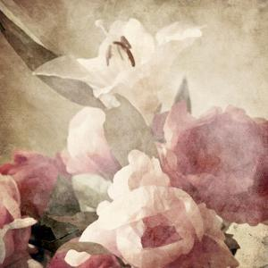 Art Floral Vintage Sepia Background with Pink Peonies and White Lily by Irina QQQ
