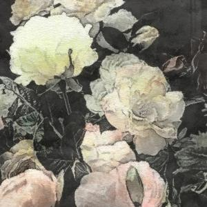 Art Floral Vintage Watercolor Background with White and Light Pink Roses and Peonies by Irina QQQ