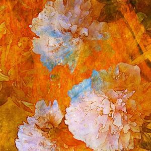 Art Grunge Floral Vintage Background in Orange and Light Pink by Irina QQQ
