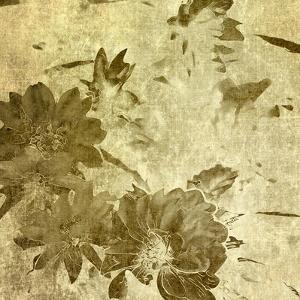 Art Grunge Floral Vintage Watercolor Sepia Background with Peonies by Irina QQQ