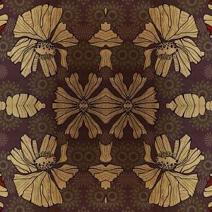 Art Nouveau Geometric Ornamental Vintage Pattern in Beige, Violet and Brown Colors by Irina QQQ