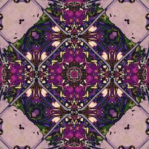 Art Nouveau Geometric Ornamental Vintage Pattern in Lilac, Violet and Blue Colors by Irina QQQ