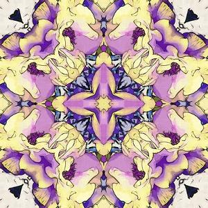 Art Nouveau Geometric Ornamental Vintage Pattern in Lilac, Violet, Black, White and Yellow Colors by Irina QQQ