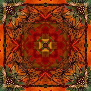 Art Nouveau Geometric Ornamental Vintage Pattern in Orange, Green and Red Colors by Irina QQQ
