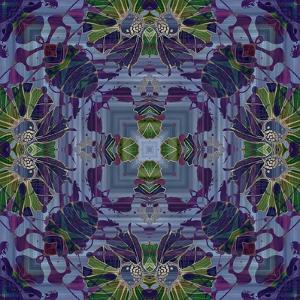 Art Nouveau Geometric Ornamental Vintage Pattern in Violet and Green Colors by Irina QQQ