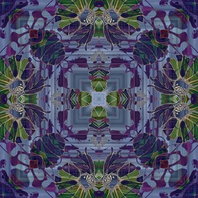 Art Nouveau Geometric Ornamental Vintage Pattern in Violet and Green Colors