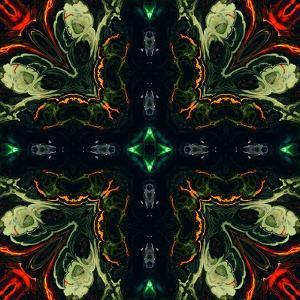 Art Nouveau Ornamental Vintage Pattern in Green and Red Colors by Irina QQQ