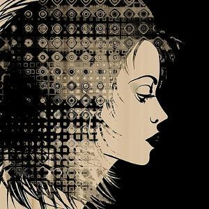 Art Sketched Beautiful Girl Face In Profile With Geometric Ornament Hair On Black Background by Irina QQQ