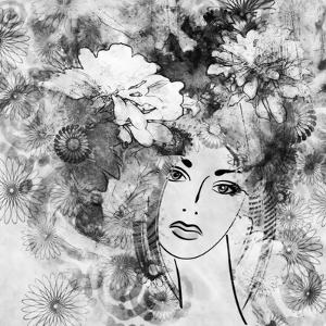 Art Sketched Beautiful Girl Face With Flowers In Hair In Black Graphic On White Background by Irina QQQ