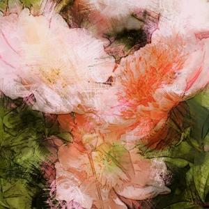 Art Vintage Floral Blurred Background with Pink Peonies in Garden by Irina QQQ