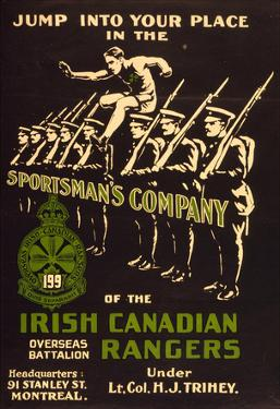 Irish Canadian Rangers Enlist War Propaganda Vintage Ad Poster Print