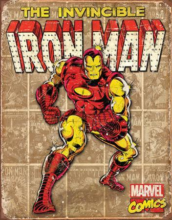 Iron Man - Retro Panels Tin Sign