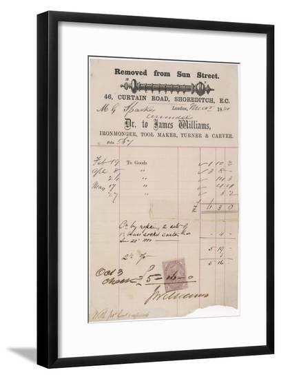 Ironmonger Receipt 1881--Framed Giclee Print