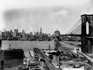 Manhattan Skyline, East River and Brooklyn Bridge by Irving Underhill
