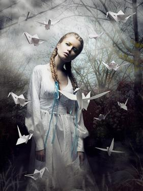 Mystery. Origami. Woman with White Paper Pigeon. Fairy Tale. Fantasy by Iryna Hramavataya