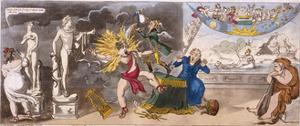 The Pall Mall Apollo or R-Ty in a Blaze, 1816 by Isaac Cruikshank