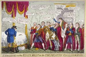 A Civic Louse in the State Bed!!!, or the Corporation Conglomorated!!, 1824 by Isaac Robert Cruikshank