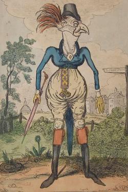 A Dandy Cock in Stays, 1818 by Isaac Robert Cruikshank