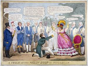 A Frolic at the Melon Shop in Piccadilly, 1826 by Isaac Robert Cruikshank
